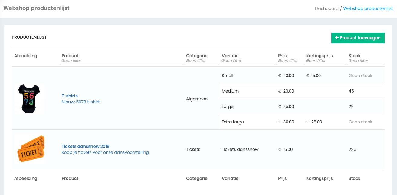 webshop module ledenbeheer
