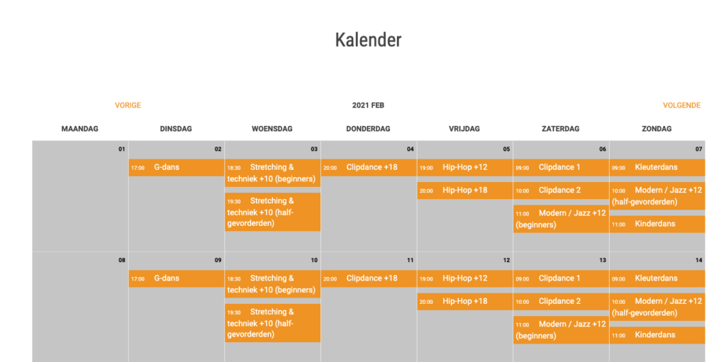Wordpress kalender view